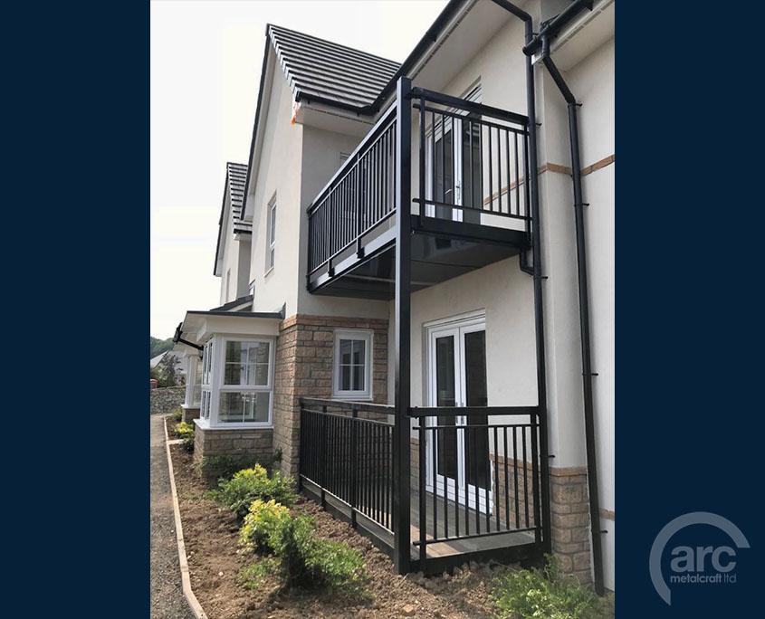 black double balcony